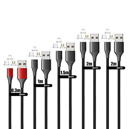 NetDot 10th Generación Cable Magnético, Carga Rápida y Transferencia de Datos para Teléfonos Inteligentes Micro USB & USB-C Sumsung,Sony y i-Product(5 Pack,0.3m Rojo,1m/1.5m/2m/2m Negro)