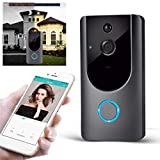 Zippem Home Wireless Remote Monitoring Real-Time Two-Way Talk Video Doorbell Remote Home Monitoring Systems (Gray)