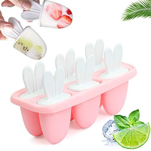 Moldes para Helados, 6 Reutilizable Moldes, Fabricador de Hielo de Paletas Libres de BPA Grado Alimenticio, Moldes Casero, Helados, para Bebés y Adultos (Rosa)
