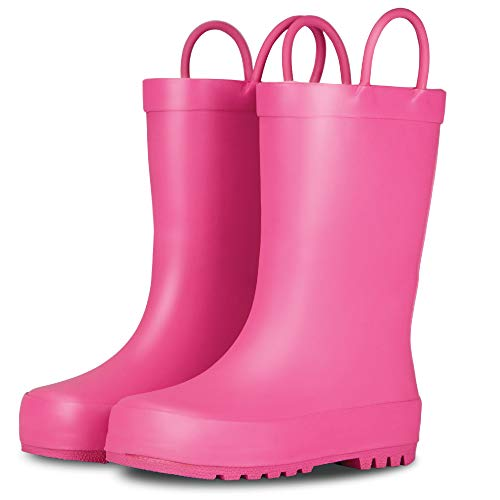 LONECONE Elementary Collection - Premium Natural Rubber Rain Boots with Matte Finish for Toddlers and Kids, Bubblegum Pink, Toddler 6