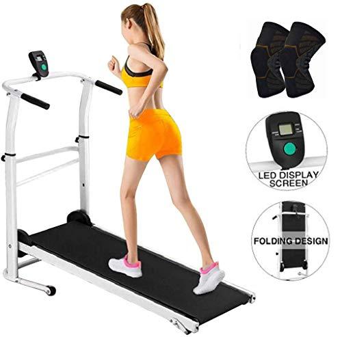 GGCL Cintas de Correr para Inicio de Plegado Manual de la máquina de Trabajo Cardio Fitness Ejercicio Incline Oficina máquina Que Ejecuta,Negro