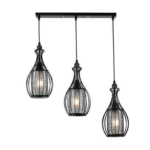 kroonluchter retro industrie woonkamer slaapkamer bar vaas drie koppen smeedijzer type LED zwarte hanger