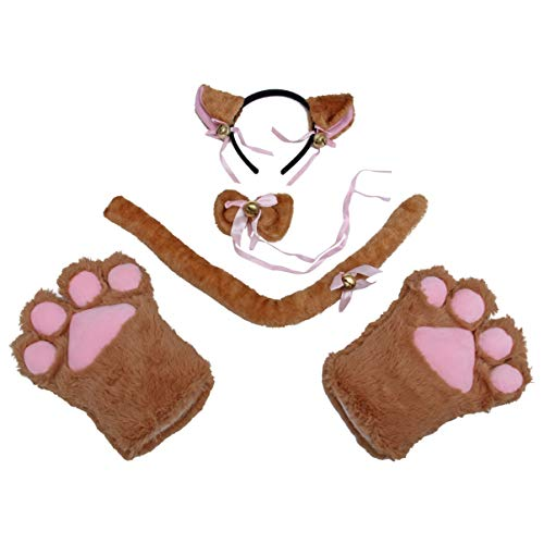 TOYANDONA Katze Cosplay Kostüm Set Kätzchen Schwanz + Ohren Stirnband + Kragen + Pfoten Handschuhe für Kinder (braun)