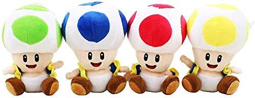 4 Super Mario Toys / Set of 18 cm Super Mario Bros. Toad Mushroom Plush Pendant Plush Toad in 4 colors