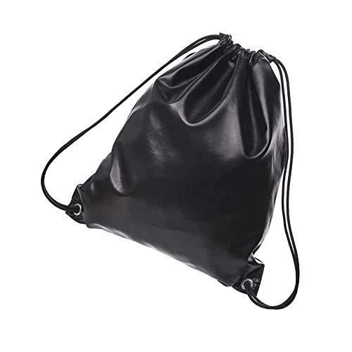 YCYUYK Drawstring Bags for Man Women Leather Backpack Gym Bag Rucksack Gymsack Black Smooth Black