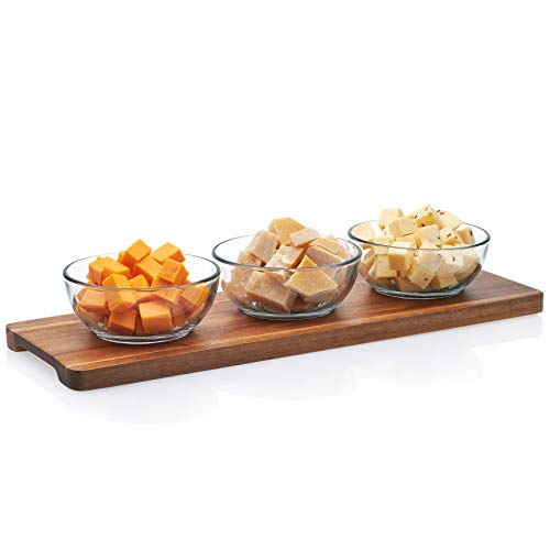 Libbey Acaciawood 3-Piece Glass Condiment Dish Set with Wood Serving Board