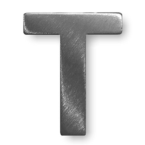 """Metall-Buchstabe """"T"""" aus gebürstetem Edelstahl – Höhe 4cm – Hausnummer, Zimmerbeschriftung, Bürobeschriftung, Türsymbol, Wandbeschilderung – rostfrei und selbstklebend ohne bohren"""