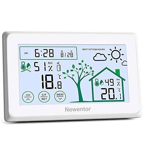 Newentor Wetterstation Funk mit Außensensor, Thermo Hygrometer Innen Thermometer Aussen, Thermometer Innen/Ausen, Innen Aussen Digital Thermometer, Temperaturmessgerät Innen Außen mit Touch Screen