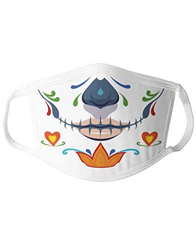 clothinx Dia de Los Muertos Muchacha Sugar Skull Gesichts-Maske bedruckt mit Mexiko Design Mund-Nasen-Maske Alltagsmaske Behelfsmaske für Erwachsene in Einheitsgröße