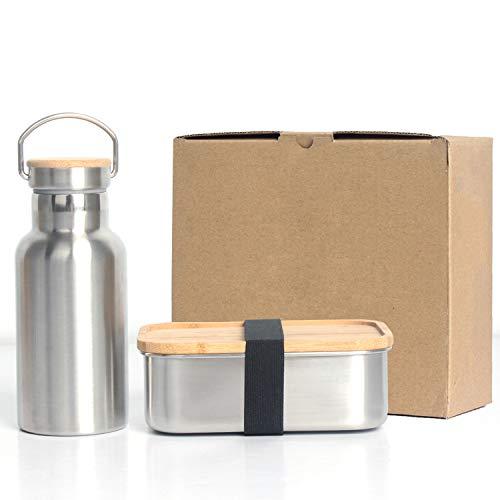 YJHome Acero Inoxidable Fiambrera, Set de Lonchera de 800ml con Hervidor de Acero Inoxidable de 350 ml - Lunch Box Premium con Tapa de bambú - sin plástico, sin BPA Contenedores de Alimentos