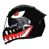 Galatée Casco Integral para Motocicleta, Cascos Modulares de Moto Ranura para auriculares Bluetooth incorporada, Aprobado por ECE, Doble Visera Mujeres Hombres (Tiburón Negro, XXL)