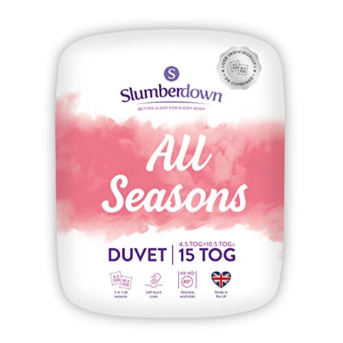 Slumberdown All Seasons Double Duvet 4.5 Tog Plus Double Duvet 10.5 Tog 3 in 1 Combination All Seasons 15 Tog Duvet Double Bed