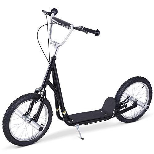 Outsunny HOMCOM Premium Monopattino Scooter a rotelle 16 Pollici Cityroller per Bambini e Ragazzi, Nero
