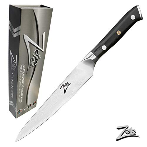 Zelite Infinity Utility Knife 6 Inch - Alpha-Royal Series - Japanese AUS-10 Super Steel 67-Layer Damascus - Razor Sharp, Superb Edge Retention