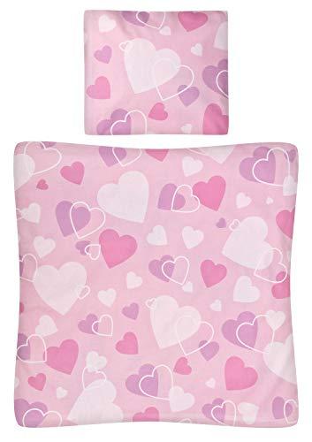 Aminata Kids - Baby-Bettwäsche-Set Wiege 80-x-80-cm Kissen-Bezug 35-x-40 cm Stuben-Wagen oder Kinder-Wagen Wiegen-Set Mädchen Baumwolle rosa Rose Weiss Herz-en