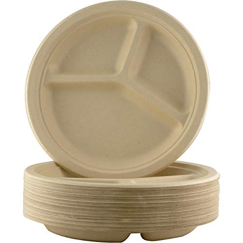 Restaurant-Grade, Biodegradable 10 Inch 3-Compartment Plates. Bulk 200Pk. Great for Lunch and Dinner Parties. Disposable, Compostable Wheatstraw Divided Plates are Leakproof and Microwave Safe.