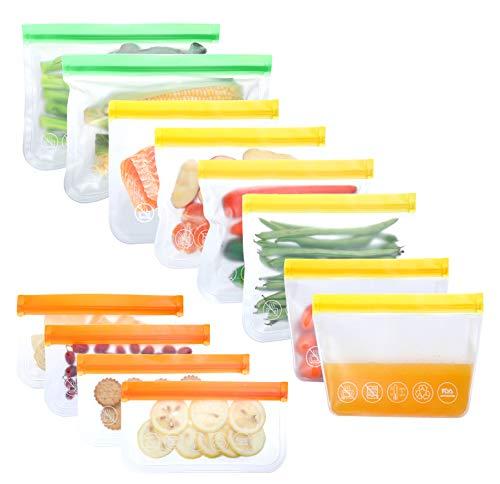 12 Stück Lebensmittel Beutel Wiederverwendbare Vielseitige Aufbewahrungsbeutel Boden-Design Gefrierbeutel Küche Sandwich Obst- und Gemüsebeutel Set für Milch, Snacks, Fleisch