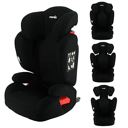 Siège auto rehausseur enfant Evolutif FLASH Isofix et/ou ceinture groupe 2/3 (15-36kg) protection latérale et dossier inclinable (noir)