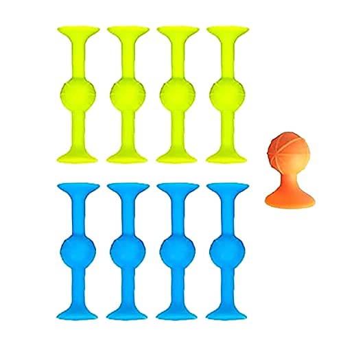 9Pcs Creative Funny Variety Sticky Decompression Toys Colorful Soft Building Blocks Toy Silicone Stress Reliever Suction Ball Suction Stick Toy Party Gadgets for Kids Playing Tools (9pcs)