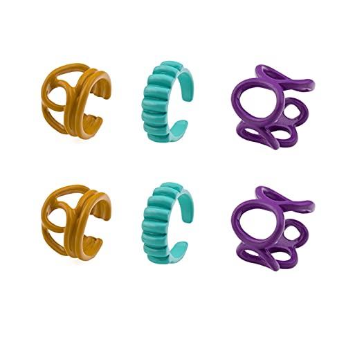 CLKE 6 piezas grueso retro aleación anillo mujeres niñas vintage aleación anillos conjunto adolescente niñas hombres colorido moda nudillo lindo dedo único joyería, Adjustable, Resina, Estrás,