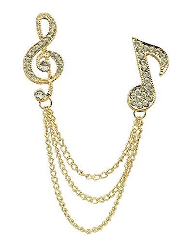Brosche Musik Musiknoten Notenschlüssel / Violinschlüssel Brosche Anstecker K11 (gold)