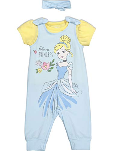 Disney Princess Cinderella Baby Girls Romper & Headband Set 12 Months Light Blue