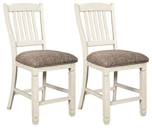 Signature Design By Ashley - Bolanburg Upholstered Barstool - Set of 2 - Casual Style - Antique White