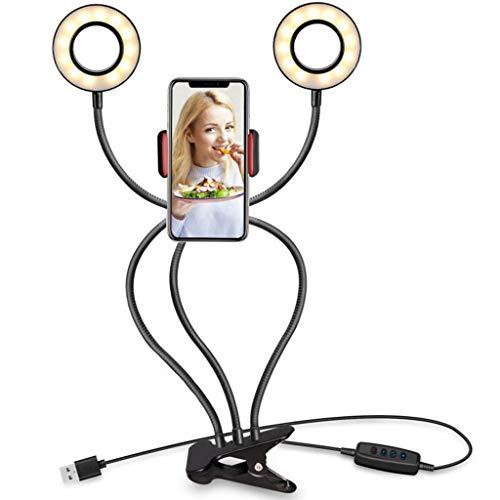 Handy Selfie Licht Ring LED Ringlicht Fotolicht Kamera Strahler Flash Handyhalter 360 ° Halterung Haltersbreite für Smartphones iPhone Samsung Huawei LG und mehr 3 Modus Licht & 10 Ebene