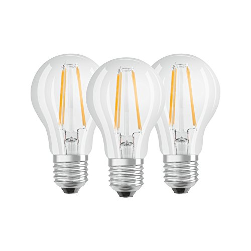 Osram LED Base Classic A Lampe, in Kolbenform mit E27-Sockel, nicht dimmbar, Ersetzt 60 Watt, Filamentstil Klar, Warmweiß - 2700 Kelvin, 3er-Pack