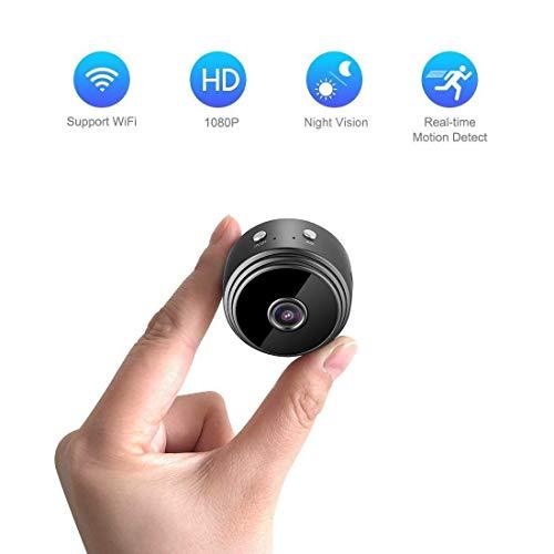 B&H-ERX Hidden Camera Mini Spy Camera, Full HD 1080P Draadloze WiFi Spy Cam/Kleine Indoor Home Security Camera/Nanny Camera met Nachtzicht en Bewegingsdetectie-Zwart