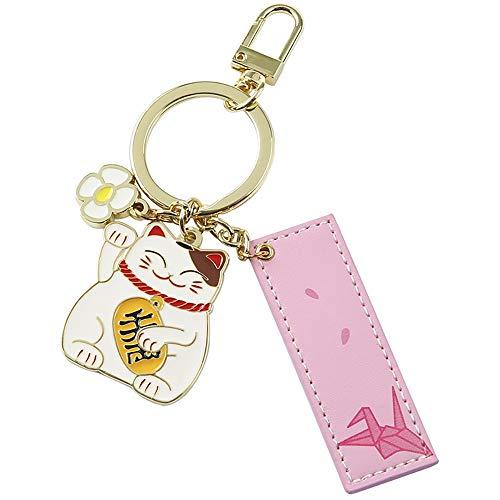 Kreatives Keychain glückliche Katze Schlüssel Anhänger tausend Papierkranich Muster Geeignet for den täglichen Verschleiß