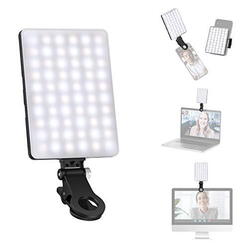 Neewer Luz LED Videoconferencia para Móvil MacBook y Ordernador Iluminación de Zoom Ajustable con 3 Modos de Luz/Batería de 2000mAh / Abrazadera para Teléfono para Trabajo Remoto Transmisión en Vivo