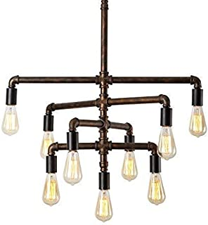 SEOL-LIGHT Barn Adjustable Pipe Chandeliers Pendant Hanging Lighting with 9 Sockets(Industrial-Style)Max 540W Metal Iron For Dinning Room,Kitchen,Foyer