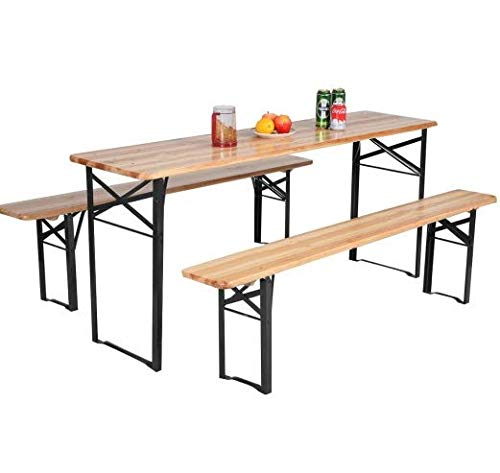 3 Pcs Picnic Table Set – 1 Table, 2 Benches – Sturdy Steel Frame – Durable Wood Material – 500 lbs Weight Capacity – Foldable Design – Easy Storage – Brown Finish – Great For Patio, Backyard, Garden