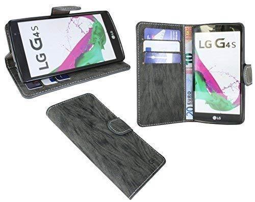 ENERGMiX Buchtasche kompatibel mit LG G4s (H735) Hülle Case Tasche Wallet BookStyle mit Standfunktion in Anthrazit