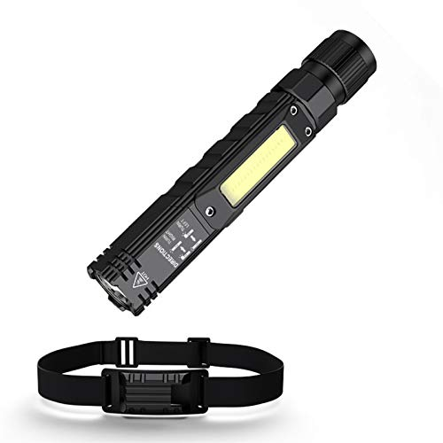 YDL Linterna LED Linterna + Head Light Supfire G19-S TCH 90 Grado Rotación Twist Rotación Lanterna Magnet Flash Light Light Light (Emitting Color : G19 with Strap)