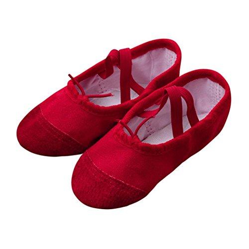 Longra Ballerines Chaussures Canvas Chaussures de Ballet Classique EU24~32 Doux Chaussons de Danse pour Gym Yoga Danse Fitness Gymnastique Chaussons pour Enfants (EU:24, Rouge)
