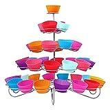 Trimming Shop 3 Ebenen Metall Törtchen Ständer - 13 Mini Kuchen Display Halter - für Partys und Anlässe - Silbern