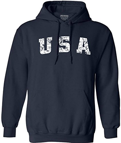 Joe's USA(tm Vintage USA Logo Hooded Sweatshirts-Large Navy