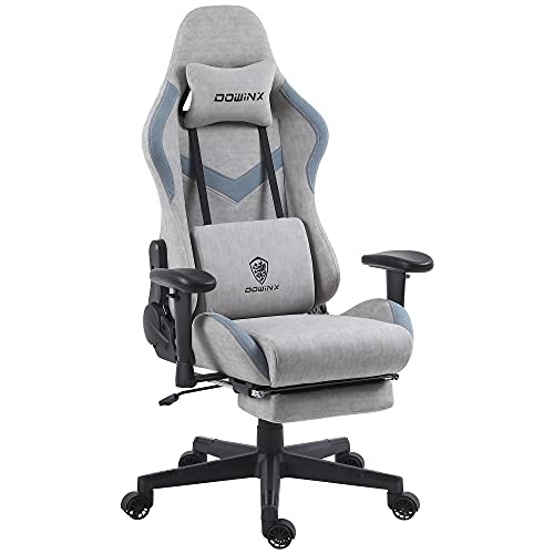Dowinx Gaming Chair Breathable Fabric Office Chair with Massage Lumbar Support, High Back Ergonomic Computer Chair Adjustable Swivel Task Chair with Footrest Grey