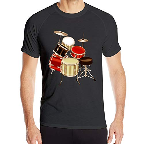 WAUKaaa Drum Set Impreso Hombres Athletic Performance Workout Gym Manga Corta Cuello Redondo Camiseta L