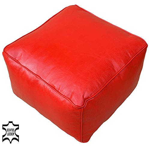 Oosterse Marokkaanse poef zitpoef zitpoef zitpoef poef voetenbank voetenbank vloerkussen zitkussen poef poef poef rood 50x50x35cm echt leer