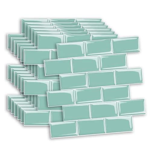 12'x12' Azulejos De Metro Autoadhesivo Cocina Splashbacks, Pegatinas De Azulejos 3D para Cocina/Baño, 10 Hojas (Color : Green)