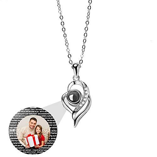 Collana Di Proiezione Personalizzata Con Foto Ti Amo 100 Lingue Pendente Con Ciondolo Per Il Suo Compleanno Di Natale Idee Per Gioielli Da Sposa Per Gli Amanti(Argento2-20)