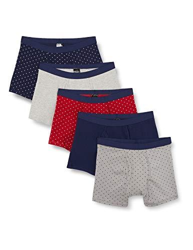 find. Herren Shorts aus Baumwolle, 5er-Pack, Multicoloured (Nvy/Gry/Burg Polka), L, Label: L