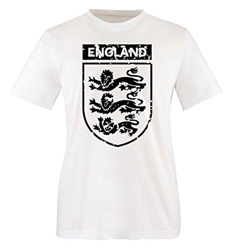 Comedy Shirts - EM 2016 - England - Wappen - Vintage - Herren T-Shirt - Weiss/Schwarz Gr. XXL
