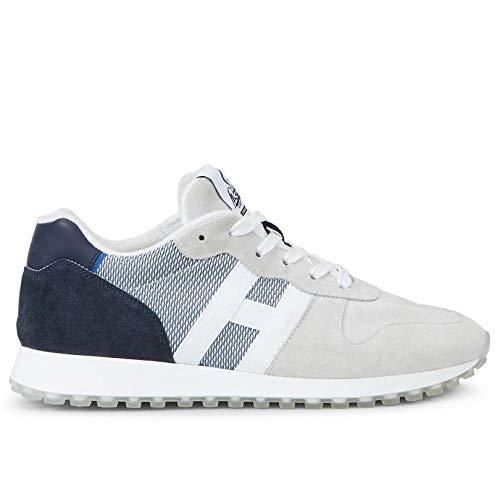 Hogan HXM4290AN51 N1H803X - Zapatillas deportivas para hombre H383, de ante y tela, color azul y blanco