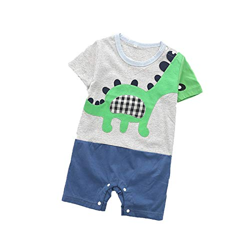 Mono para bebé con bolsillo de dibujos animados, color blanco, mono de juegos con pies, de manga larga para bebé, niños, 100 % algodón, para niños y niñas, impresión de carta gris 9-18 meses