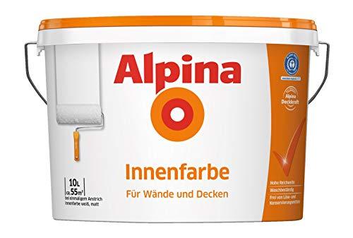 Alpina 5 L. &10 L. weiße Wandfarben für Innen, verschiedene Eigenschaften (10 Liter, Alpina Innenfarbe - für Wände & Decken)