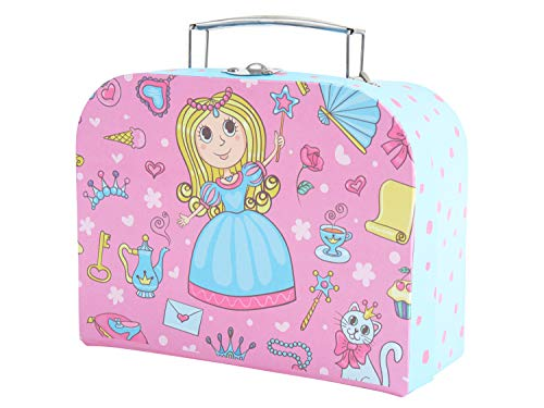Bieco Kinderkoffer Prinzessin, Koffer aus stabiler Pappe, 20 cm, mit Metallgriff, für Kinder AB 3 Jahre Equipaje Infantil, 2.5 Liters, Rosa (Hellblau Und Pink)
